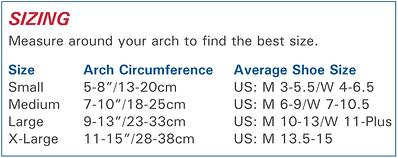FS6 Foot Compression Sleeve size information