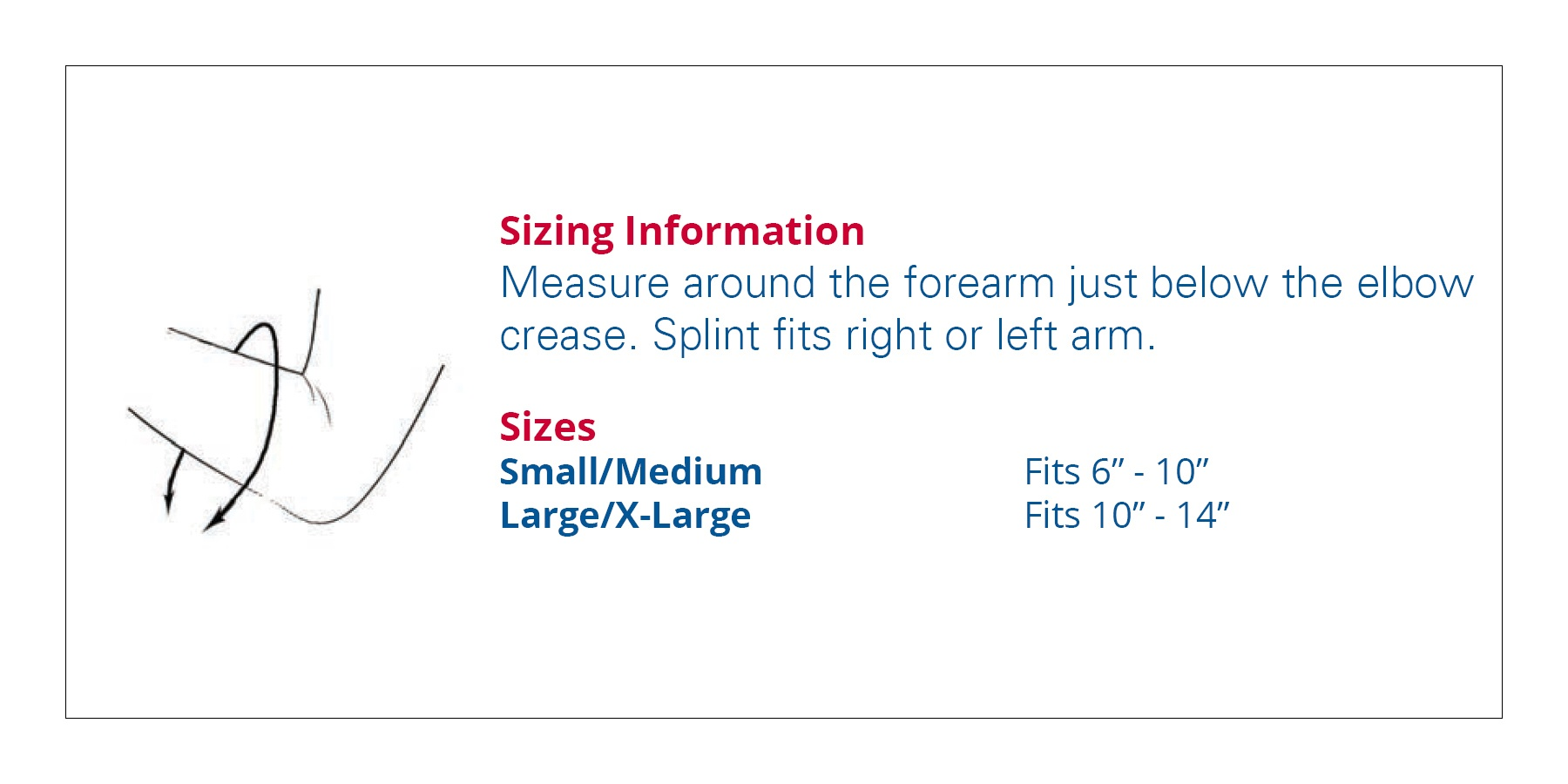 3pp Elbow P.O.P. Splint size information