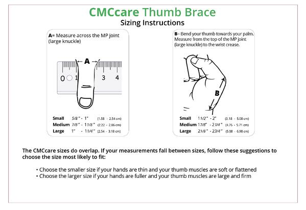 CMCcare Thumb Brace sizing chart