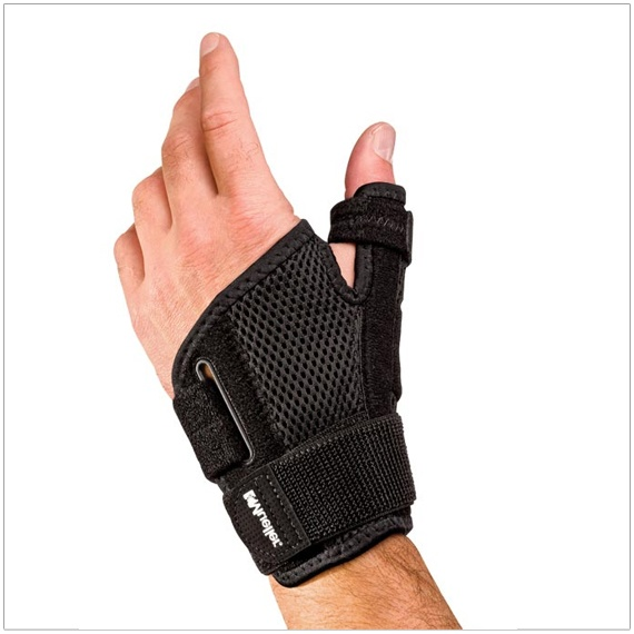 Mueller Thumb Stabilizer limits CMC and MCP joint motion to treat de Quervain's and Gamekeepers Thumb