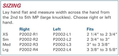 Polycentric Hinged Ulnar Deviation Splint size information