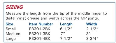 Protexgloves Original size information