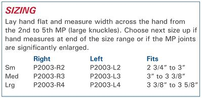 Radial Hinged Ulnar Deviation Splint size information