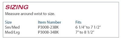 3pp Wrist Wrap size information